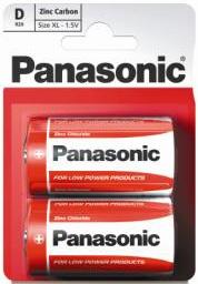 Zinkouhlíková baterie D Panasonic Red Zinc R20RZ (2ks v blistru)