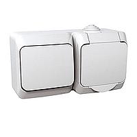 Kombinace Cedar Plus - spínač jednopólový + zásuvka 'VDE' (bílá)