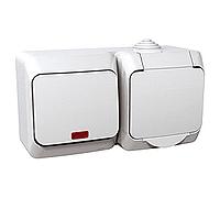 Kombinace Cedar Plus - spínač jednopólový s kontrolkou + zásuvka 'VDE' (bílá)
