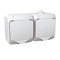 Vodotěsná zásuvka dvojnásobná CEDAR (IP44) bílá