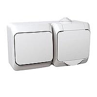 Kombinace Cedar Plus - spínač jednopólový + zásuvka (bílá)