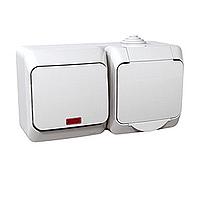 Kombinace Cedar Plus - spínač jednopólový s kontrolkou + zásuvka (bílá)