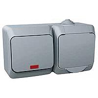 Kombinace Cedar Plus - spínač jednopólový s kontrolkou + zásuvka 'VDE' (šedá)