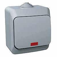 Spínač Cedar Plus jednopólový s orientační kontrolkou (šedá)