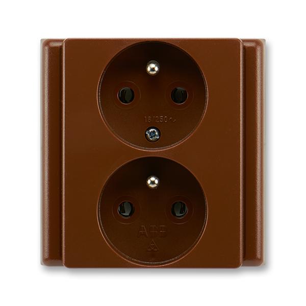 Zásuvka dvojnásobná polozapuštěná s ochrannými kolíky CLASSIC Hnědá (ABB 5512-2249 H3)