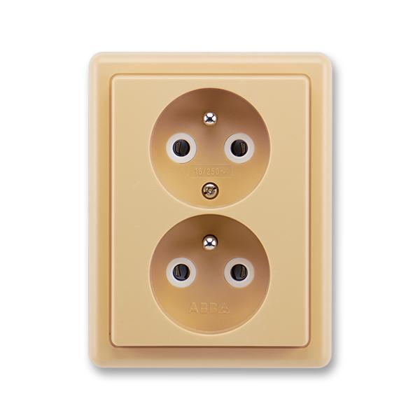 Zásuvka dvojnásobná s ochrannými kolíky CLASSIC Béžová (ABB 5512C-2349 D2)