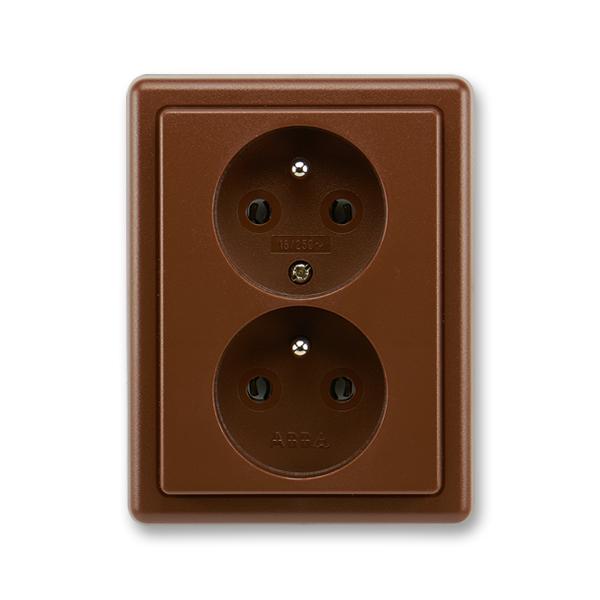 Zásuvka dvojnásobná s ochrannými kolíky CLASSIC Hnědá (ABB 5512C-2349 H3)