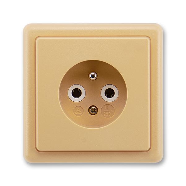 Zásuvka jednonásobná s ochranným kolíkem CLASSIC Béžová (ABB 5517-2389 D2)