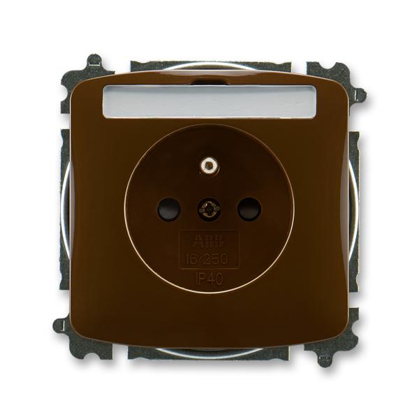 Zásuvka TANGO hnědá s popisovým polem, ochranným kolíkem, clonkami (ABB 5519A-A02352 H)