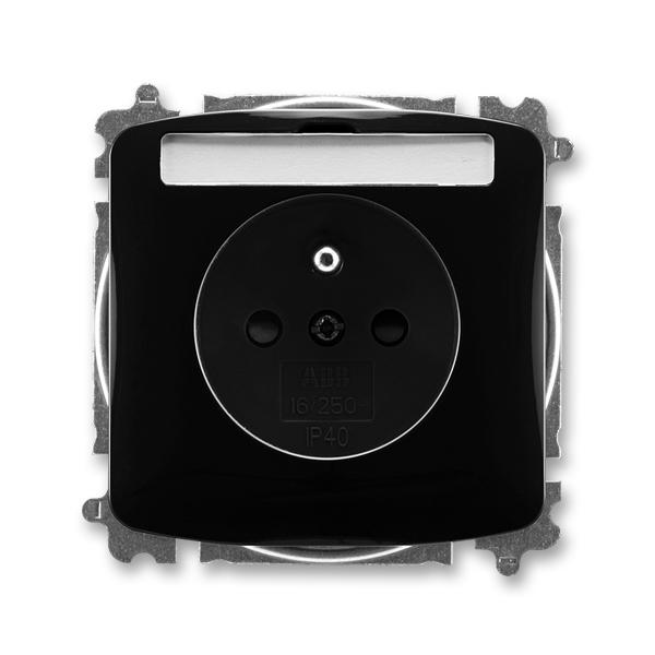 Zásuvka TANGO černá s popisovým polem, ochranným kolíkem, clonkami (ABB 5519A-A02352 N)