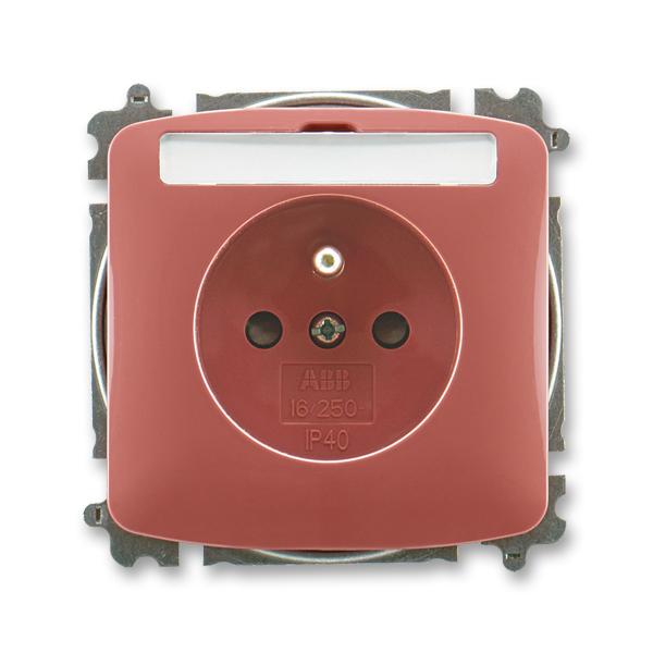 Zásuvka TANGO vřesová červená s popisovým polem, ochranným kolíkem, clonkami (ABB 5519A-A02352 R2)