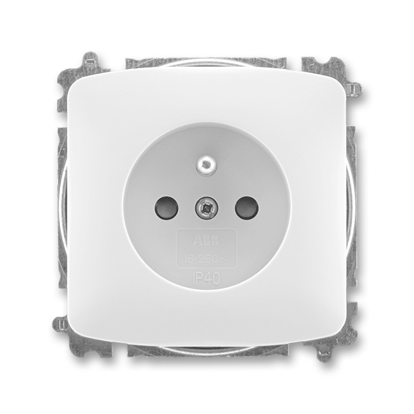 Zásuvka jednonásobná s ochranným kolíkem, s clonkami TANGO Bílá (ABB 5519A-A02357 B)