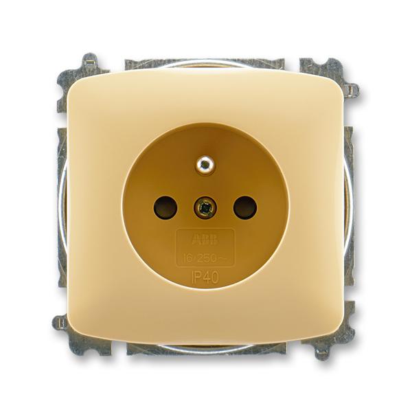Zásuvka jednonásobná s ochranným kolíkem, s clonkami TANGO Béžová (ABB 5519A-A02357 D)