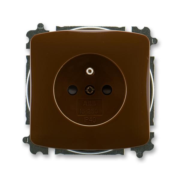Zásuvka jednonásobná s ochranným kolíkem, s clonkami TANGO Hnědá (ABB 5519A-A02357 H)