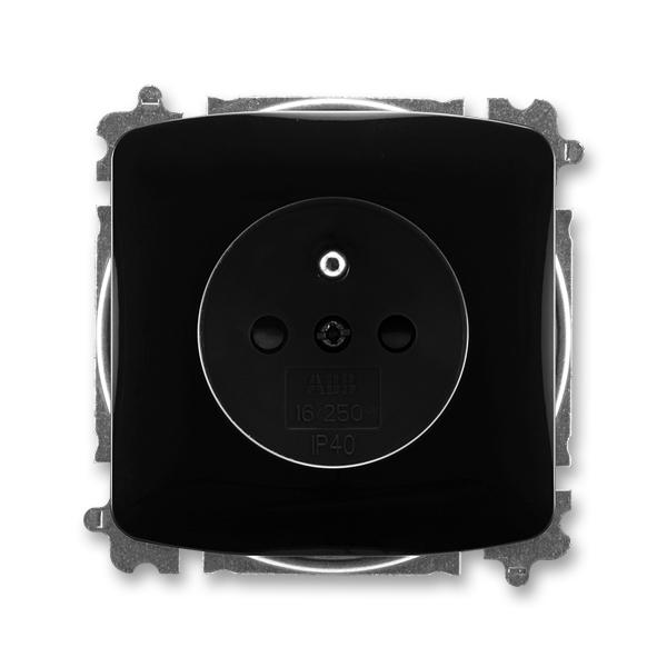 Zásuvka jednonásobná s ochranným kolíkem, s clonkami TANGO Černá (ABB 5519A-A02357 N)