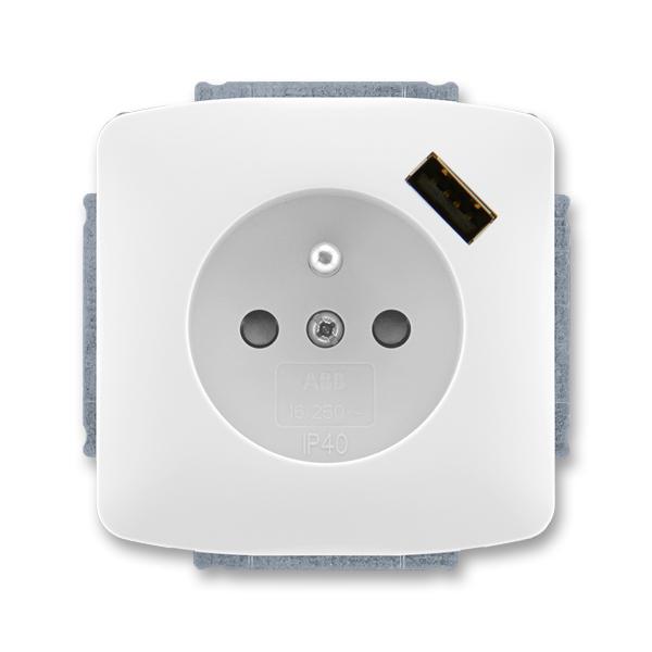 Zásuvka jednonásobná s ochranným kolíkem, s clonkami, s USB nabíjením TANGO Bílá (ABB 5569A-A02357 B)