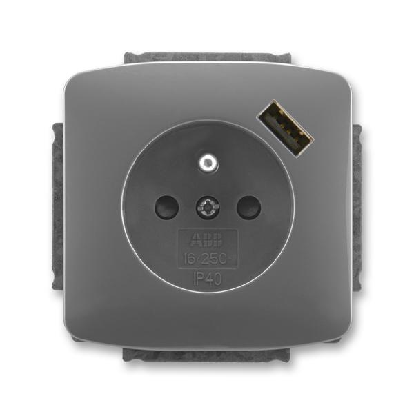 Zásuvka jednonásobná s ochranným kolíkem, s clonkami, s USB nabíjením TANGO Kouřová šedá (ABB 5569A-A02357 S2)