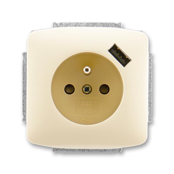Zásuvka jednonásobná s ochranným kolíkem, s clonkami, s USB nabíjením TANGO slonová kost (ABB 5569A-A02357 C)