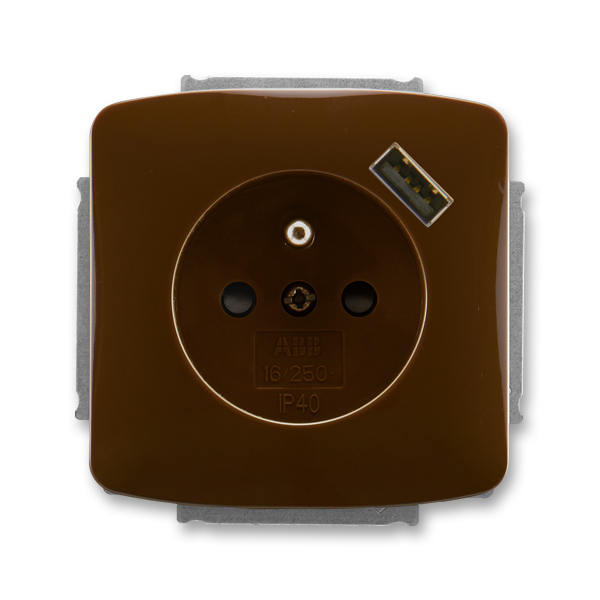 Zásuvka jednonásobná s ochranným kolíkem, s clonkami, s USB nabíjením TANGO hnědá (ABB 5569A-A02357 H)