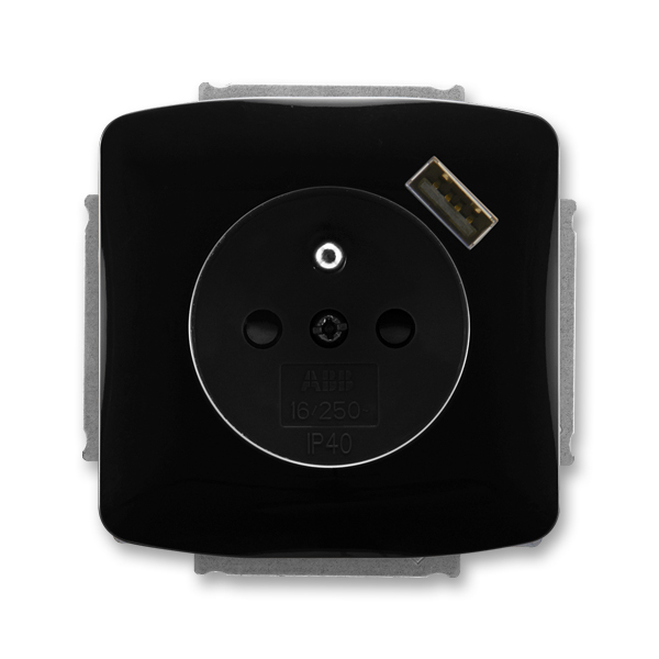 Zásuvka jednonásobná s ochranným kolíkem, s clonkami, s USB nabíjením TANGO černá (ABB 5569A-A02357 N)