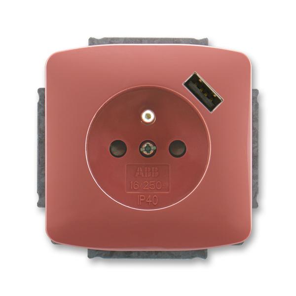 Zásuvka jednonásobná s ochranným kolíkem, s clonkami, s USB nabíjením TANGO vřesová červená (ABB 5569A-A02357 R2)