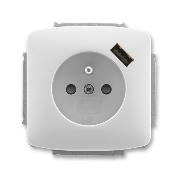 Zásuvka jednonásobná s ochranným kolíkem, s clonkami, s USB nabíjením TANGO šedá (ABB 5569A-A02357 S)