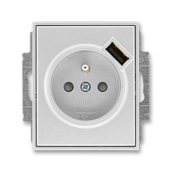 Zásuvka jednonásobná s ochranným kolíkem, s clonkami, s USB nabíjením TIME titanová (ABB 5569E-A02357 08)