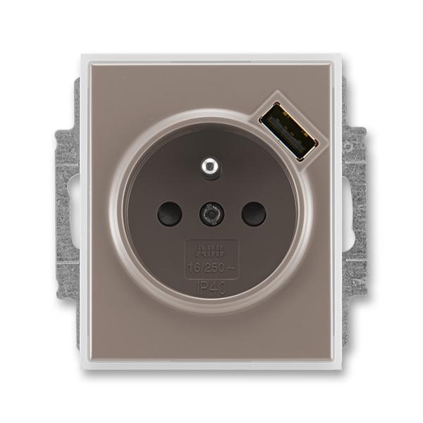 Zásuvka jednonásobná s ochranným kolíkem, s clonkami, s USB nabíjením TIME lungo/mléčná bílá (ABB 5569E-A02357 26)