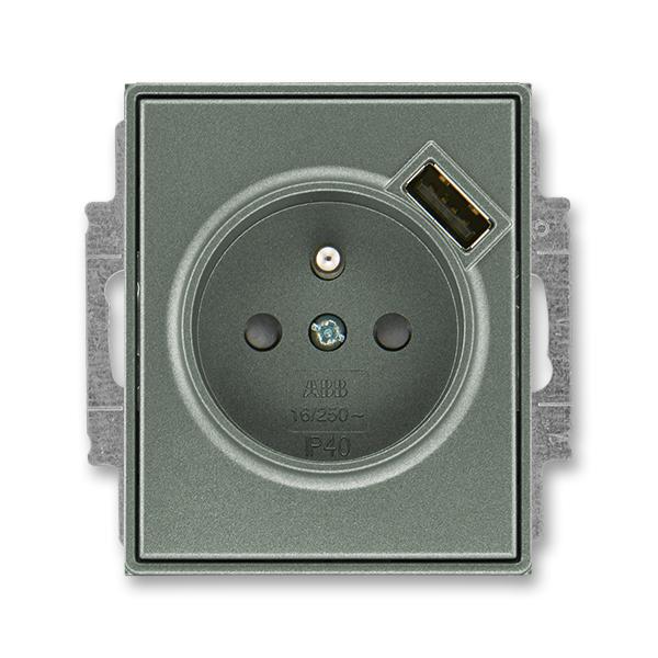 Zásuvka jednonásobná s ochranným kolíkem, s clonkami, s USB nabíjením TIME antracitová (ABB 5569E-A02357 34)