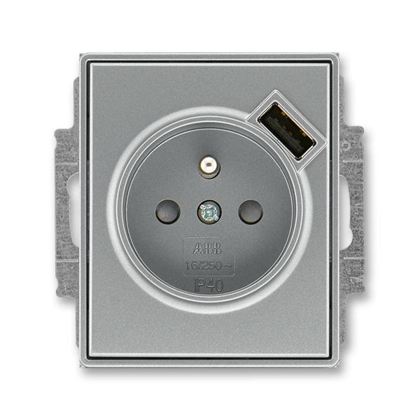 Zásuvka jednonásobná s ochranným kolíkem, s clonkami, s USB nabíjením TIME ocelová (ABB 5569E-A02357 36)