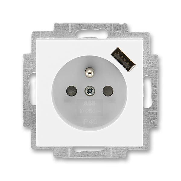 Zásuvka jednonásobná s ochranným kolíkem, s clonkami, s USB nabíjením LEVIT Bílá / Ledová bílá (ABB 5569H-A02357 01)