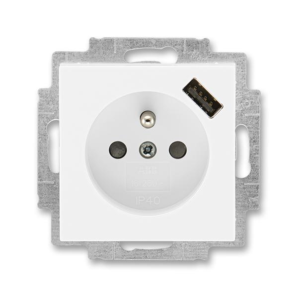 Zásuvka jednonásobná s ochranným kolíkem, s clonkami, s USB nabíjením LEVIT Bílá / Bílá (ABB 5569H-A02357 03)