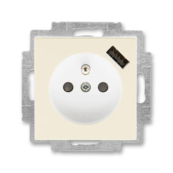 Zásuvka jednonásobná s ochranným kolíkem, s clonkami, s USB nabíjením LEVIT slonová kost/bílá (ABB 5569H-A02357 17)