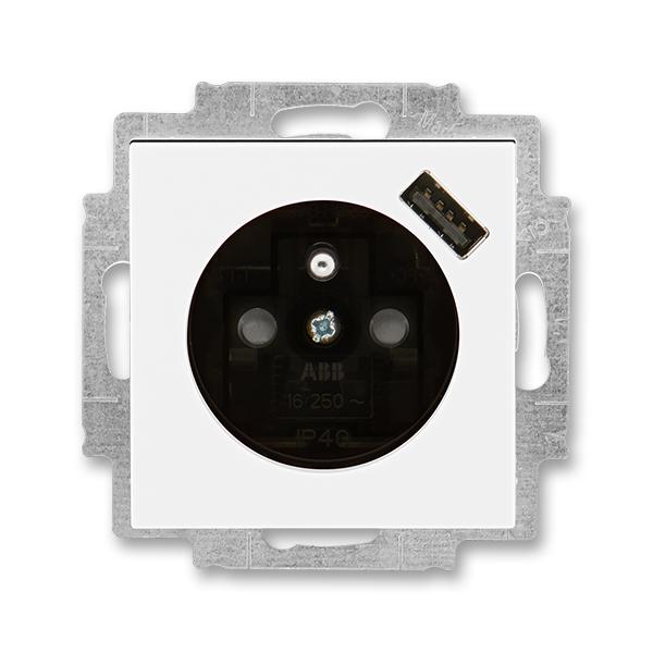 Zásuvka jednonásobná s ochranným kolíkem, s clonkami, s USB nabíjením LEVIT bílá/kouřová černá (ABB 5569H-A02357 62)