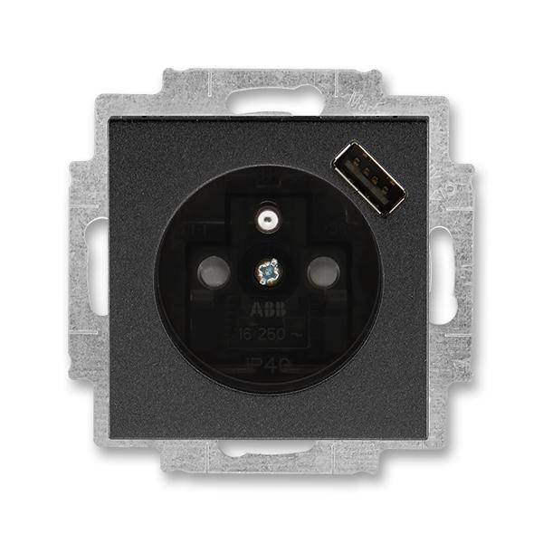 Zásuvka jednonásobná s ochranným kolíkem, s clonkami, s USB nabíjením LEVIT M onyx/kouřová černá (ABB 5569H-A02357 63)