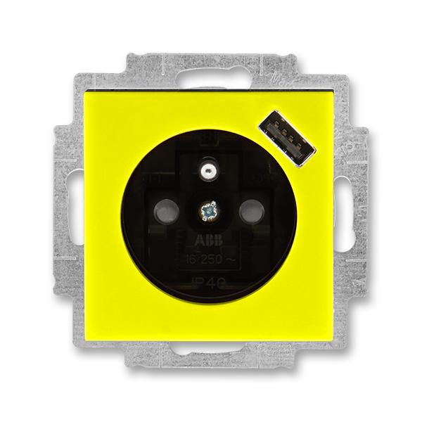 Zásuvka jednonásobná s ochranným kolíkem, s clonkami, s USB nabíjením LEVIT žlutá/kouřová černá (ABB 5569H-A02357 64)