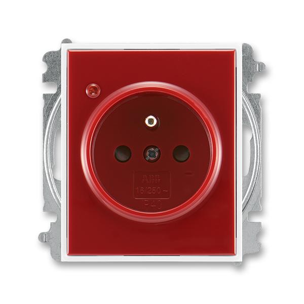 Zásuvka jednonásobná s ochranným kolíkem, s clonkami, s ochranou před přepětím ELEMENT / TI