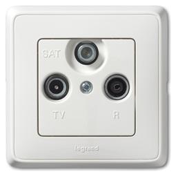 Satelitní zásuvka Cariva TV-R-SAT koncová (bílá)