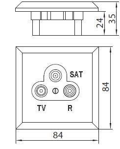 Anténní zásuvka TVRS - Flat